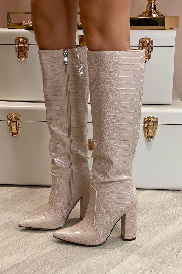 NUDE SNAKE KNEE HIGH FAUX LEATHER BOOTS