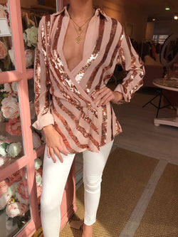 ROSE GOLD SEQUIN BLOUSE
