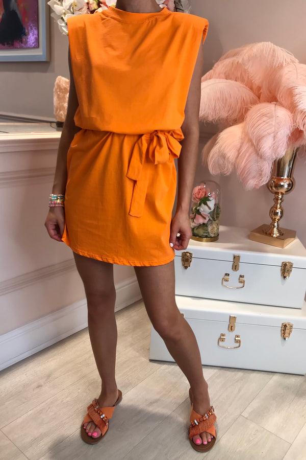 SHOULDER PAD MINI DRESS ORANGE