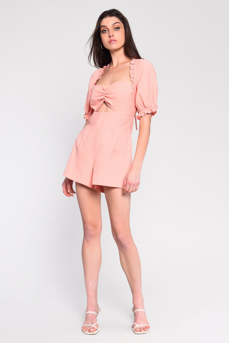 CORAL TIE BACK MINI PUFF SLEEVE PLAYSUIT