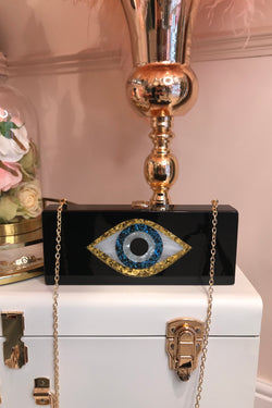 BLACK EVIL EYE ACRYLIC BOX BAG