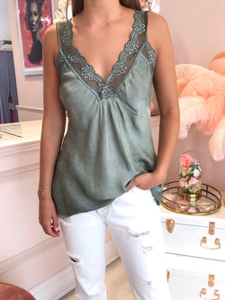 GREEN LACEY SILKY CAMI