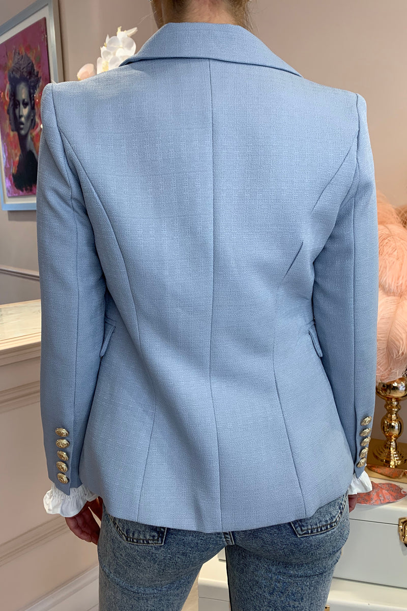 LIGHT BLUE GOLD BUTTON BLAZER