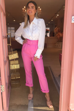 HOT PINK LINEN TROUSERS WITH BELT