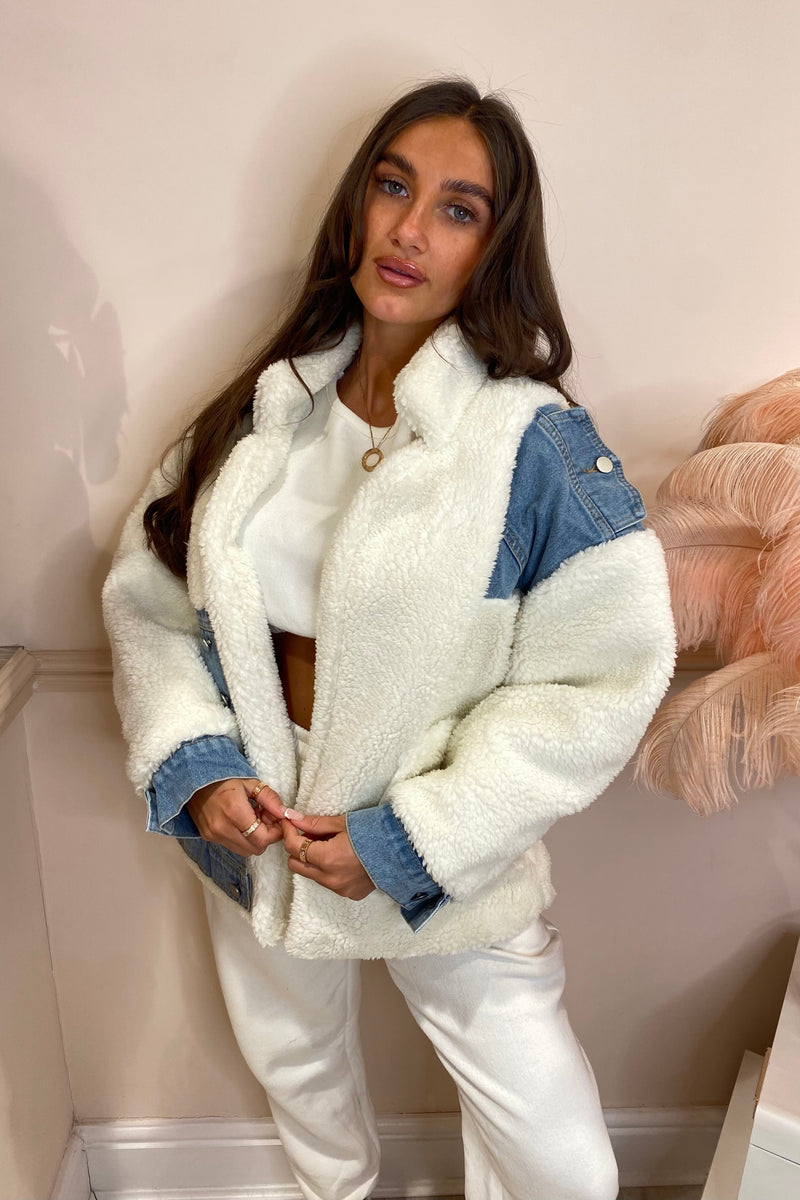 CREAM SHEARLING COAT WITH DENIM INSERT