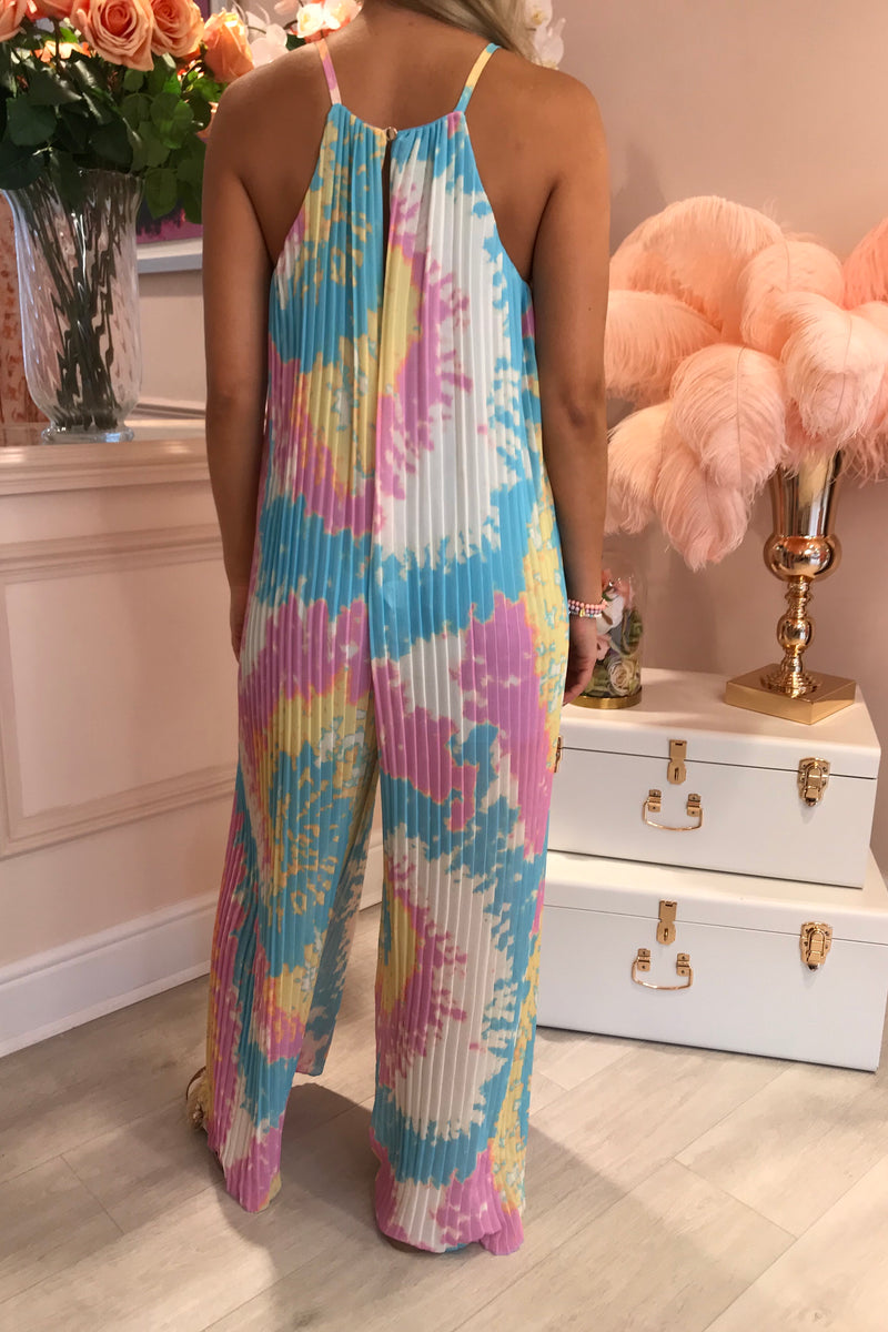 BLUE/PINK/YELLOW PLEATED PALAZZO JUMPSUIT
