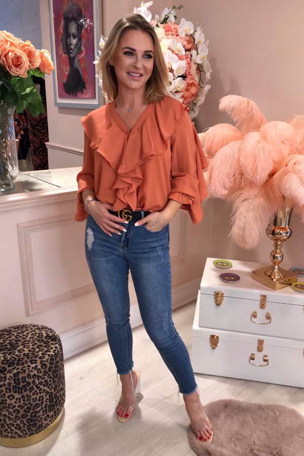 CORAL RUFFLE FRONT DEEP V BLOUSE