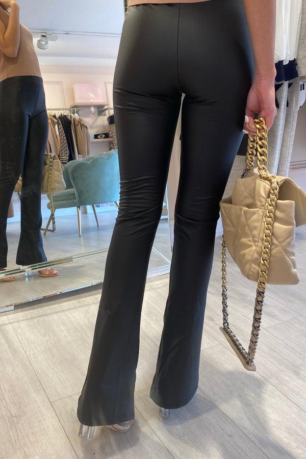 BLACK FAUX LEATHER FLARES WITH ELASTICATED WAISTBAND
