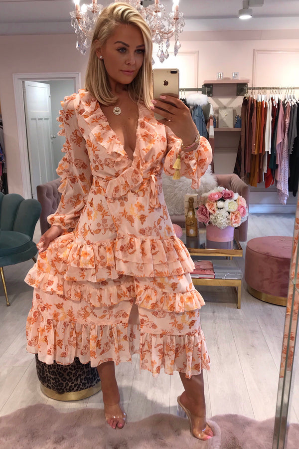 TD PEACH ORANGE FLORAL RUFFLE MAXI DRESS