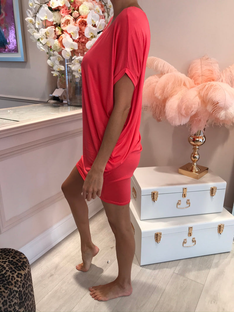 DRAPE OVERSIZED TEE DRESS RASPBERRY