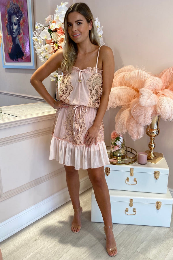 MIRA BABY PINK EMBROIDERED STRAPPY MINI DRESS
