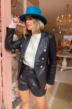 FAUX LEATHER BLACK BLAZER WITH GOLD BUTTON DETAIL