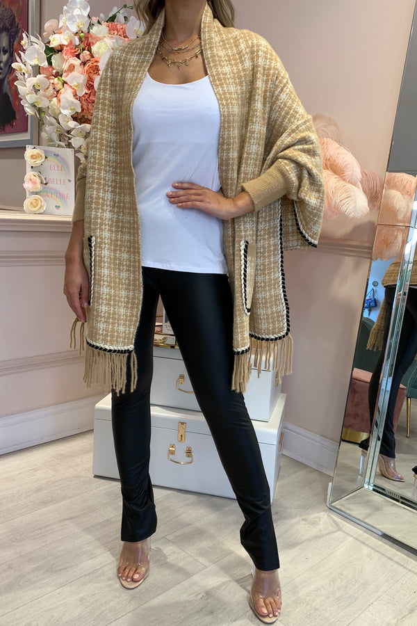 BEIGE TWEED KNITTED CAPE WITH TASSEL HEM