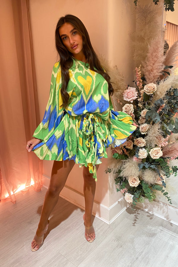 BIANCA GREEN/YELLOW PRINTED MINI DRESS