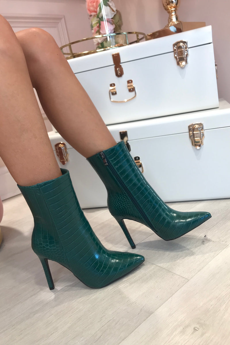 GREEN SNAKE FAUX LEATHER BOOTS