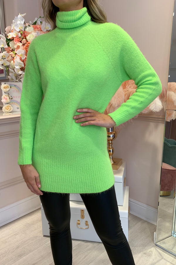NEON GREEN KNITTED ROLL NECK JUMPER