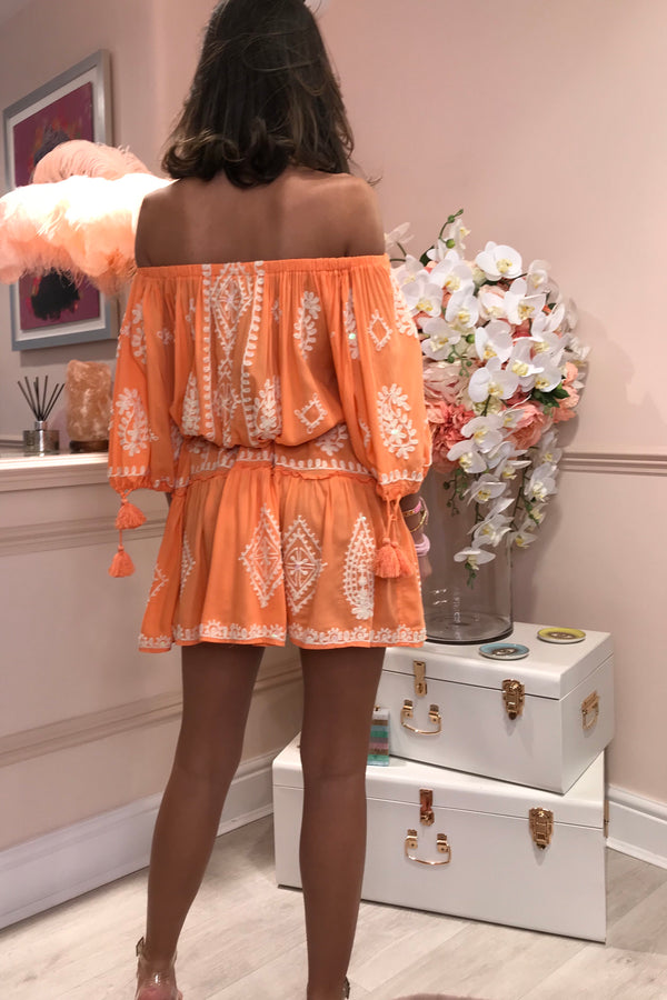 FIFI CANTALOUPE PEARL EMBROIDERED BEACH DRESS