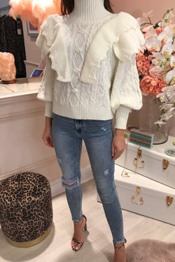 SOPHIE CREAM FRILL KNIT JUMPER