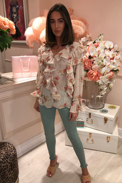NUDE FLORAL RUFFLE PLEATED BLOUSE