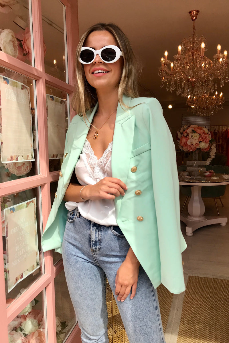 MINT GOLD BUTTON BLAZER
