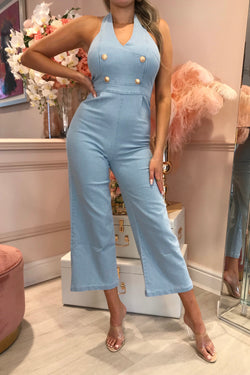 HALTERNECK DENIM JUMPSUIT WITH GOLD BUTTONS