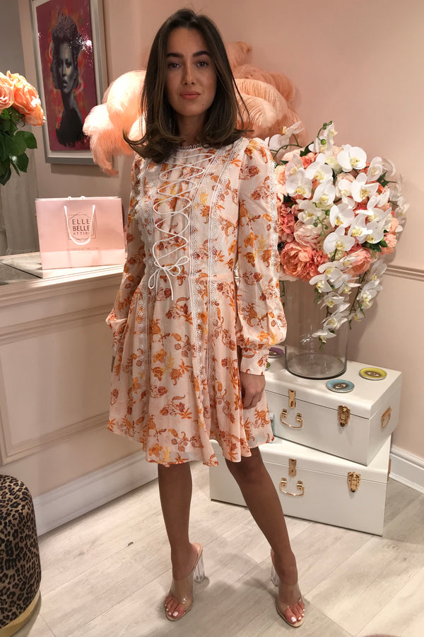 TD PEACH ORANGE FLORAL LACE FRONT MINI DRESS