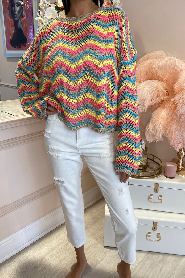 CHEVRON MULTI COLOURED OPEN KNIT JUMPER