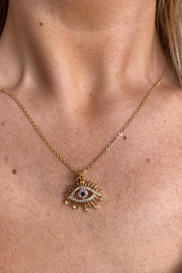 SILVER/GOLD EVIL EYE NECKLACE