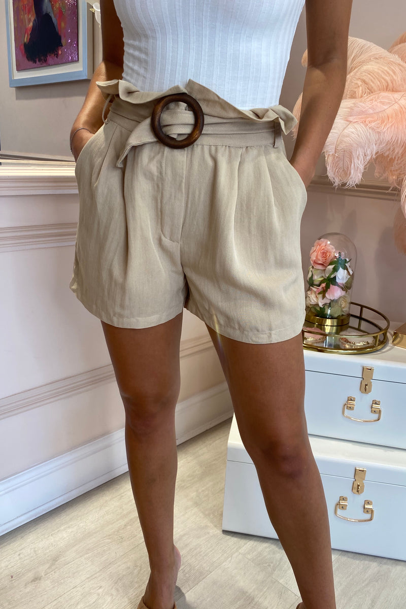 STONE LINEN SHORTS WITH BELT DETAIL