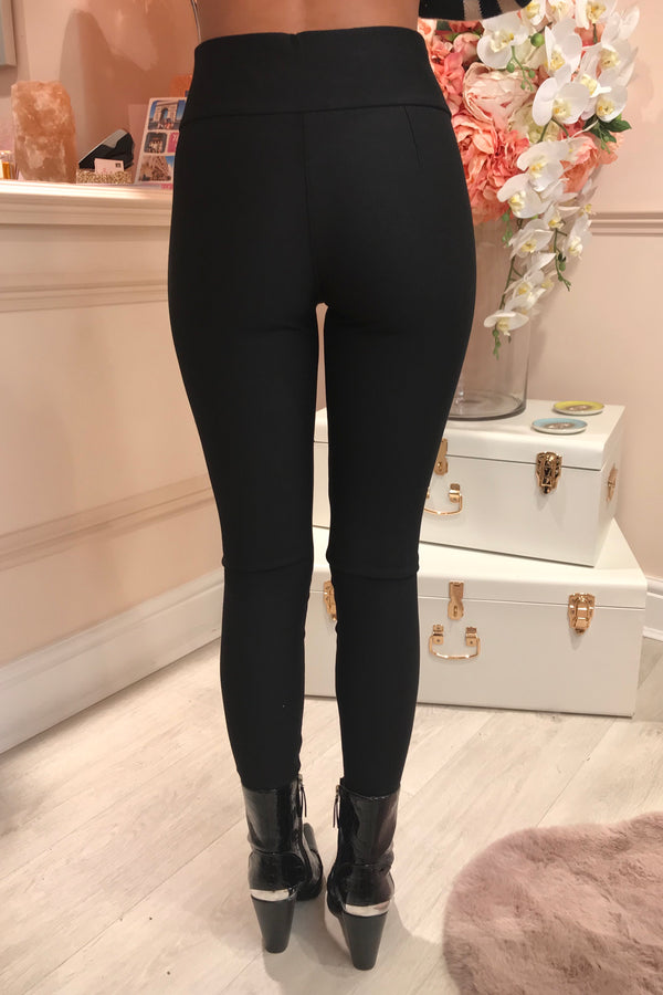 PLAIN BLACK LEGGINGS WITH STRETCH