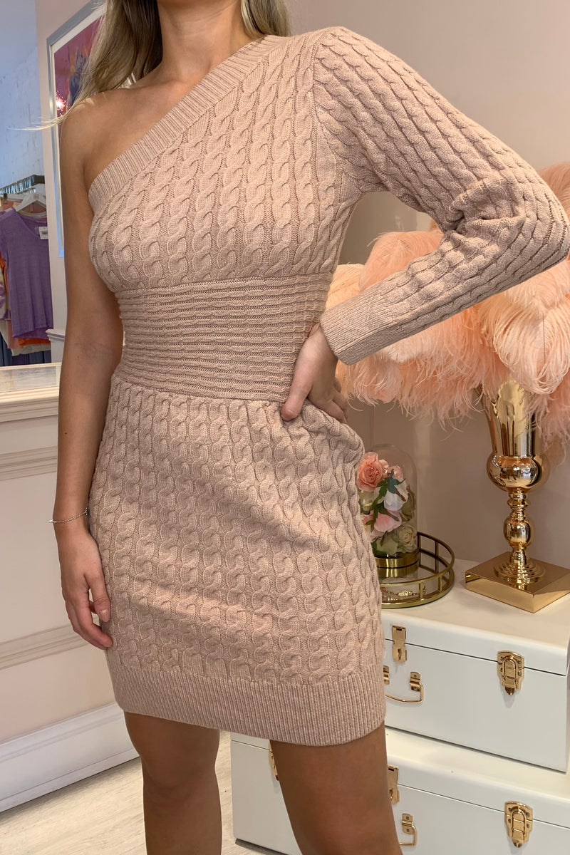 BEIGE KNIT ONE SHOULDER DRESS