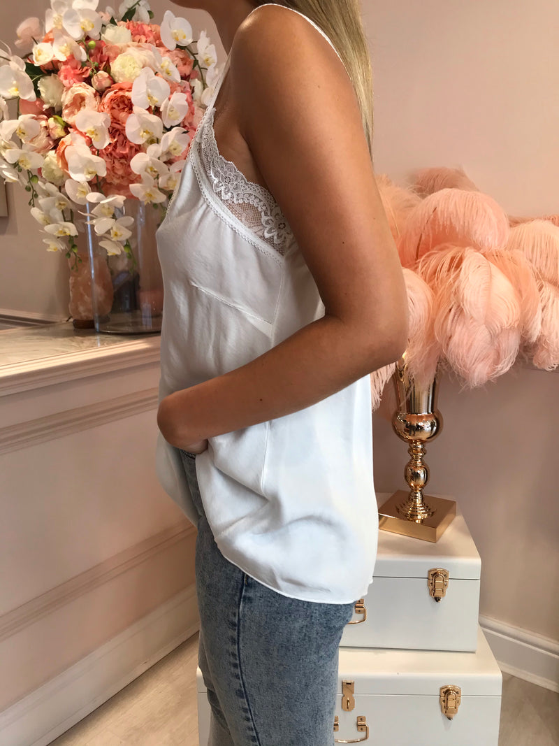 WHITE LACEY SILKY CAMI