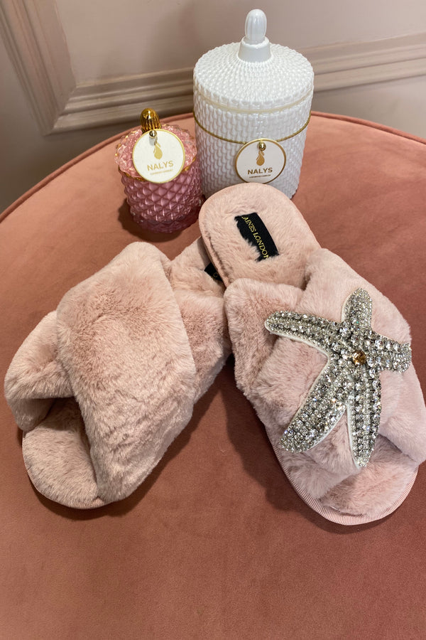 PINK FLUFFY SLIPPERS WITH SILVER STARFISH BROCH