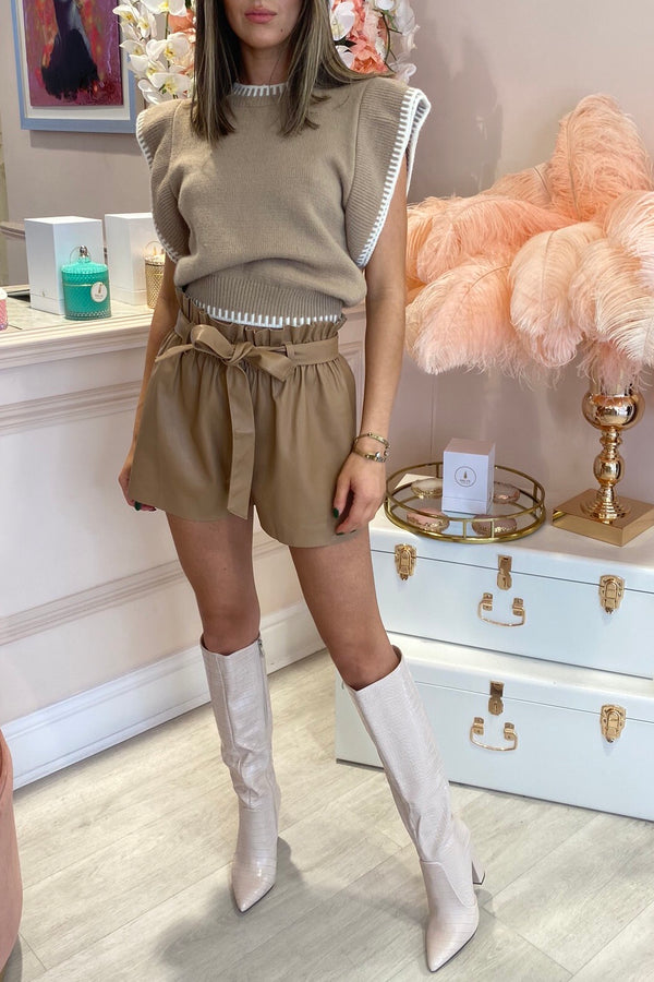 TAN FAUX LEATHER SHORTS WITH RAW EDGE