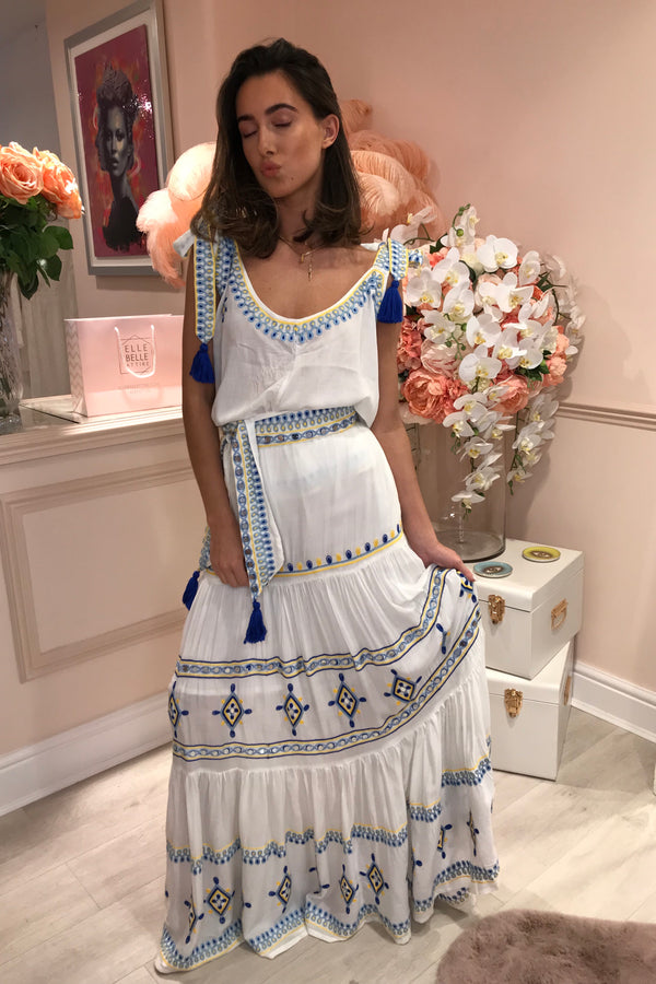 VIVI SAILING WHITE/BLUE MAXI SKIRT