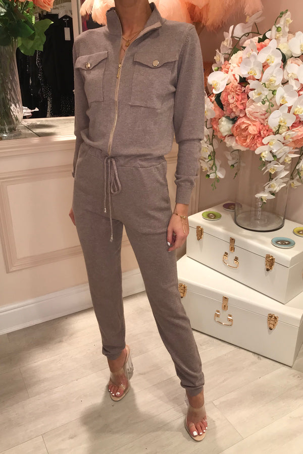 MOCHA KNITTED BOILER SUIT