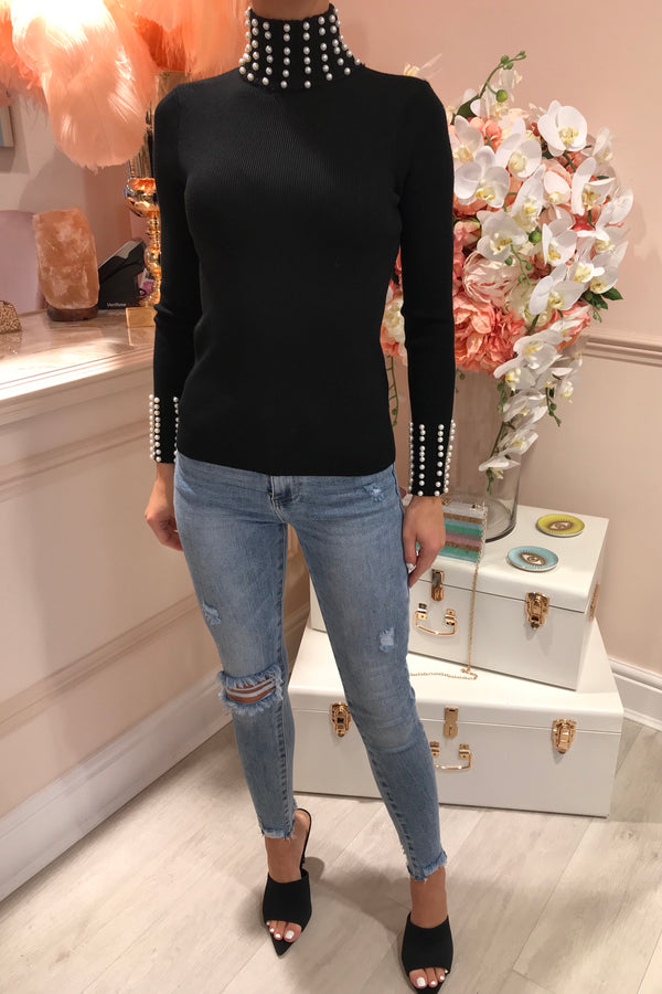BLACK KNITTED PEARL ROLL NECK TOP