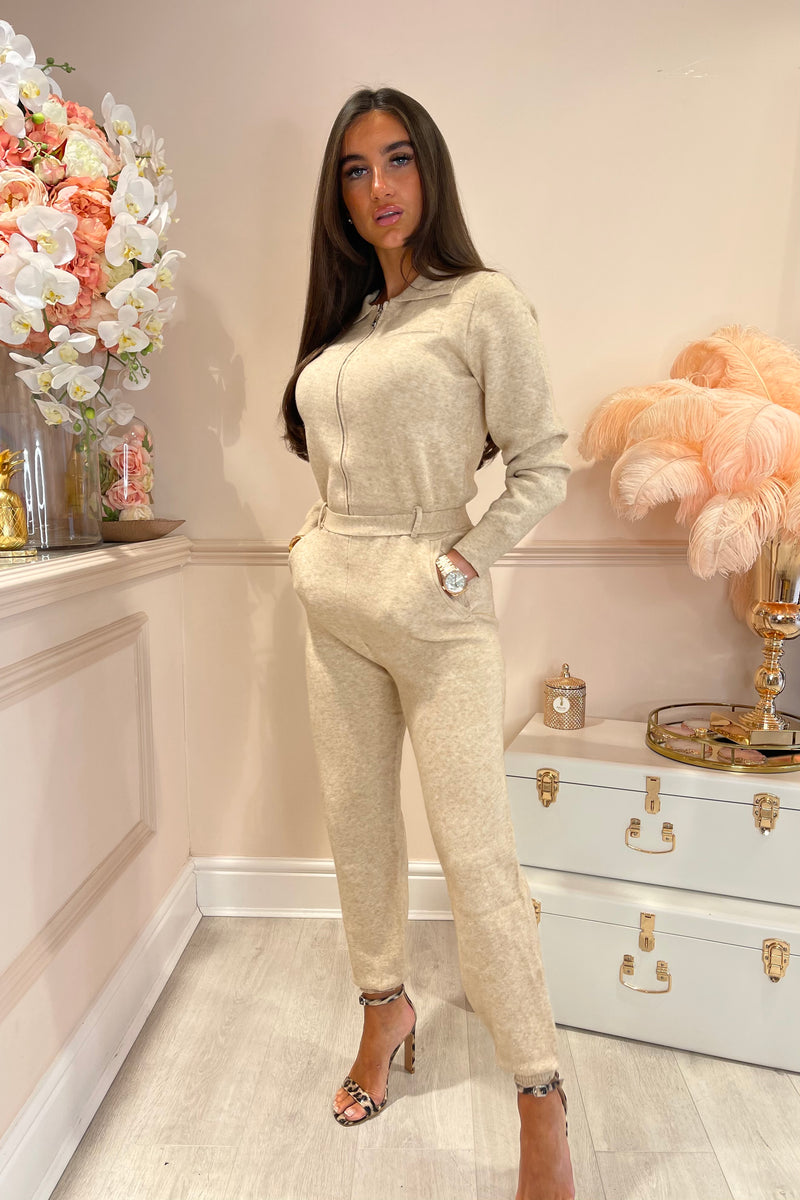 BEIGE KNITTED JUMPSUIT WITH ZIP