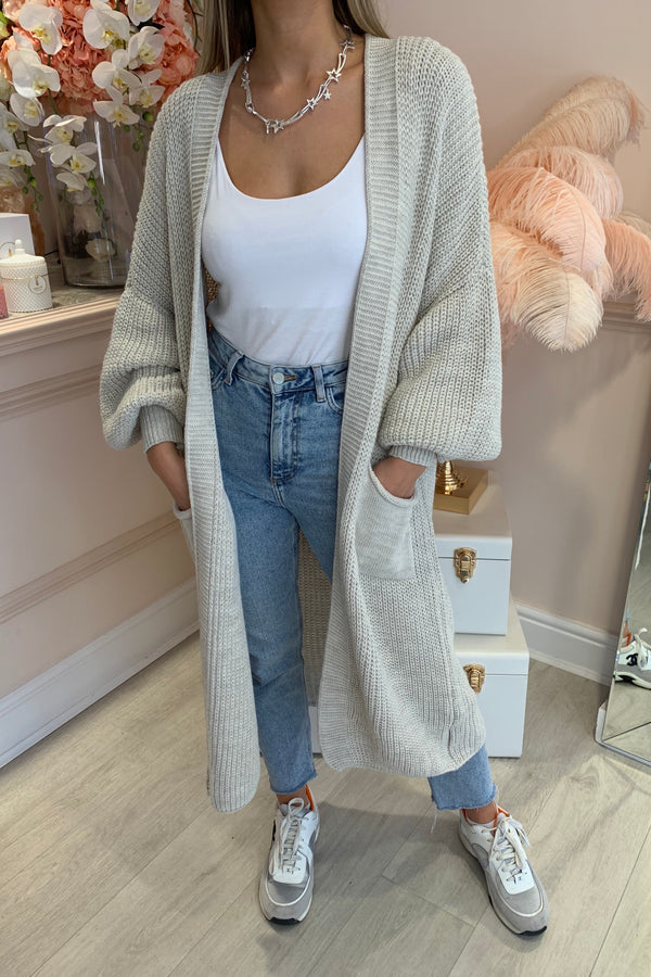 BEIGE BALLOON SLEEVE KNIT MAXI CARDI