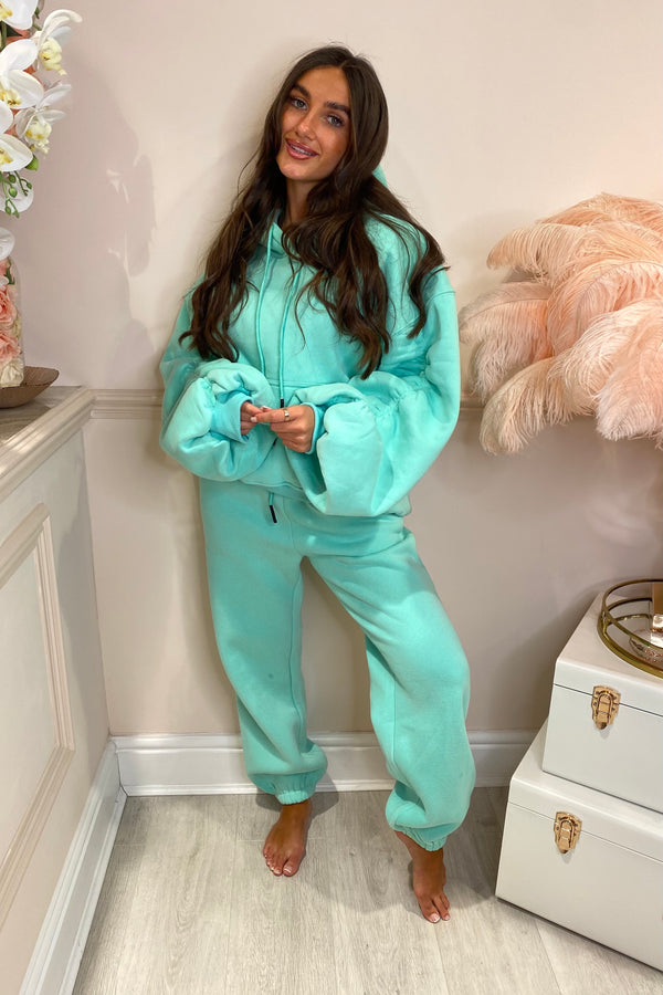 TURQUOISE RUCHED SLEEVE HOODIE & JOGGER SET