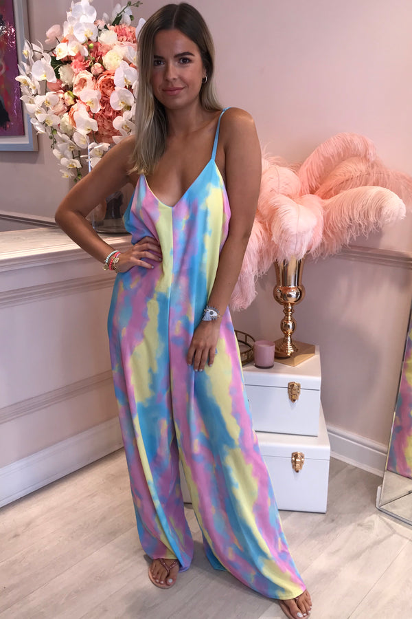 BLUE/PINK PALAZZO JUMPSUIT