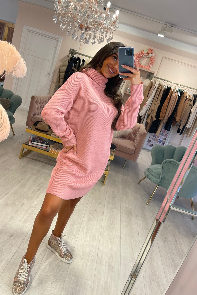 PINK KNIT ROLL NECK DRESS