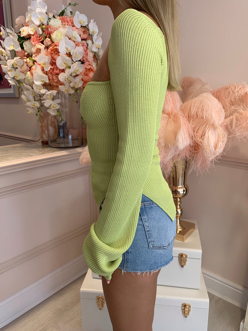 EVIE GREEN KNITTED LONG SLEEVE TOP