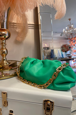 GREEN MILA BAG WITH GOLD CHAIN