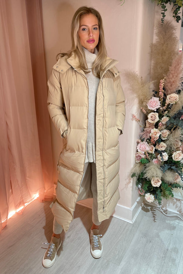CREAM QUILTED HOODDED LONGLINE PUFFER COAT