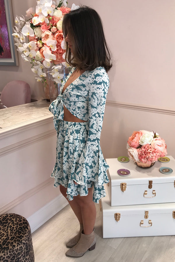 FLORAL MINT/CREAM MATCHING SKIRT SET