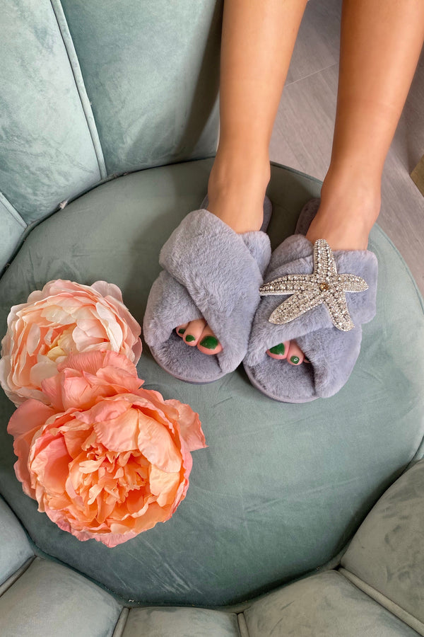 GREY FLUFFY SLIPPERS WITH SILVER STARFISH BROCH