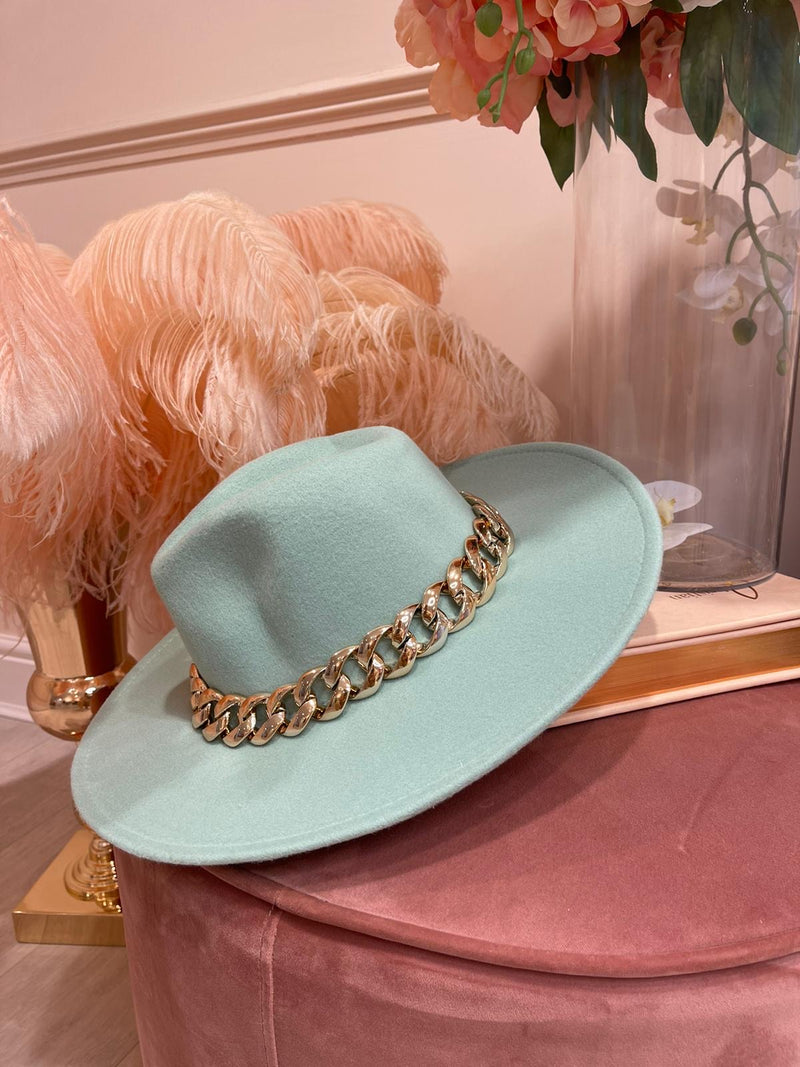 CHAIN MINT GREEN FEDORA HAT