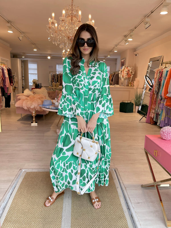 KATYA GREEN WHITE PRINTED MAXI DRESS
