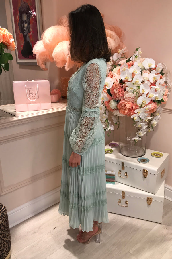 TD MINT LACE PLEATED MIDI DRESS